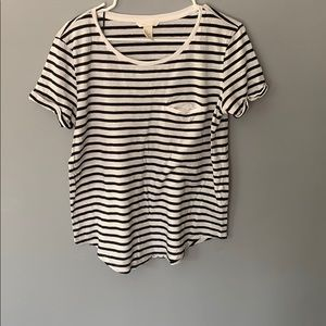 H & M  Black and White Striped T Shirt Size Small